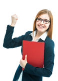 Excited businesswoman. Portrait of excited female job candidate with CV Stock Photos