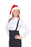 Excited businesswoman in santa hat Royalty Free Stock Image