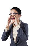 Excited businesswoman screaming isolated Stock Images