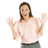 Excited Businesswoman Shouting Against White Background Stock Image