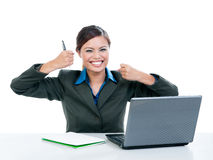 Excited Businesswoman Smiling Stock Photos