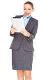 Excited businesswoman with a tablet -pc Stock Photos