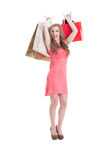 Excited and carefree shopping female Stock Image