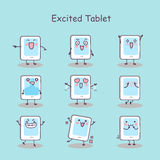 Excited cartoon digital tablet pc. Set, great for your design Royalty Free Stock Photo
