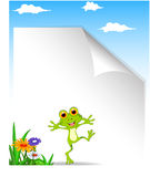 Excited cartoon frog with blank sign Stock Images