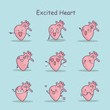 Excited cartoon heart set. Great for your design Stock Photography