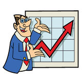 Excited cartoon Salesman standing in front of a chart Stock Images