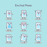 Excited cartoon smart phone Stock Photography