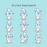 Excited cartoon smart watch. Set, great for your design Stock Photography