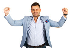 Excited casual businessman Stock Photos