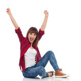 Excited Casual Woman Cheering Stock Image