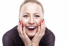 Excited Caucasian Woman Looking Forward  with Joy, Fascination a. Nd Obsession. Closeup Portrait.Isolated on Pure White Background. Horizontal Image Stock Photo