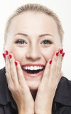 Excited Caucasian Woman Looking Forward with Joy, Fascination an. Excited Caucasian Woman Looking Forward  with Joy, Fascination and Obsession. Closeup Portrait Royalty Free Stock Photography