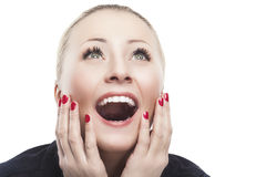 Excited Caucasian Woman Looking Upwards   with Joy, Fascination Stock Image