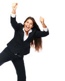 Excited cheerful success business woman Royalty Free Stock Photo