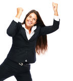 Excited cheerful success business woman Stock Images