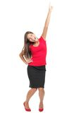Excited cheerful woman isolated Stock Photography