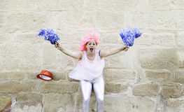 Excited cheerleader Royalty Free Stock Photography