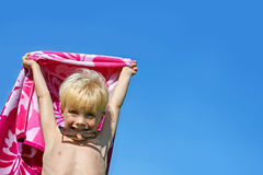 Excited Child in Beach Towel on Summer Day Royalty Free Stock Images