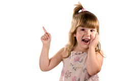Excited child pointing up royalty free stock photo