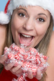 Excited Christmas Woman Royalty Free Stock Images