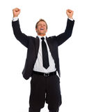 Excited corporate in suit Stock Images