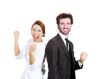 Excited couple Stock Images