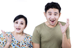 Excited couple expression on white stock photo