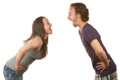 Excited Couple Facing Each Other Royalty Free Stock Photos