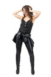 Excited crazy rock n roll girl dancing and screaming. Stock Image