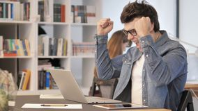 Excited Creative Man Celebrating Success at Work stock footage