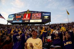 Excited Crowd. The Louisiana State University crowd roaring during an american football play in the famous stadium, Death Valley Stock Photo