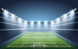 Soccer Stadium with spot lights. VECTOR Stock Image