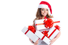 Free Excited Cute Happy Young Caucasian Teenage Girl With Gifts Box And Santa Hat. Royalty Free Stock Images - 63748159