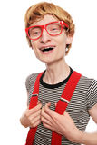 Excited cute nerd Stock Photo