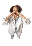 Excited doctor shouting Royalty Free Stock Photo