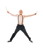 Excited drummer Stock Photography