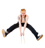 Excited drummer jumping Royalty Free Stock Image
