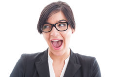 Excited and enthusiastic business woman face Stock Images