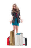Excited and enthusiastic shopping female Stock Photo