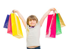 Excited and enthusiastic young shopping girl Stock Images