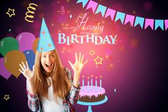 Excited european girl on birthday background. Excited european girl celebrating success on creative colorful birthday sketch background. Celebration concept Stock Images