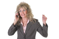 Excited Executive Business Woman on Cellphone 2 Stock Images