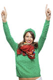 Excited exuberant pretty young woman Royalty Free Stock Photography