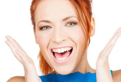 Excited face of woman Royalty Free Stock Photography