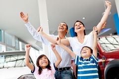 Excited family buying a car Stock Image