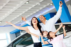 Excited family buying a car Stock Images