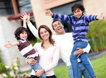 Excited family outdoors Royalty Free Stock Photography
