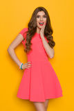 Excited Fashion Model In Pink Mini Dress Royalty Free Stock Photos