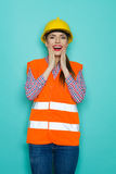 Excited Female Construction Worker Stock Photos